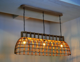 Grote stoere houten hanglamp 'Cone Stretch' | naturel