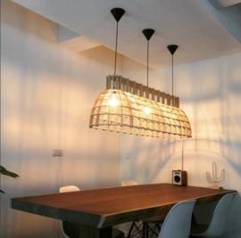 Houten hanglamp Cone Stretch 160cm semi-black