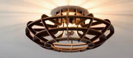 Houten plafonniere 'Ufo' | naturel, wit, grijs, zwart