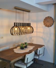 Grote houten hanglamp 'Globe Stretch' | wit, grijs of zwart
