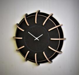 Houten klok | wit, grijs, zwart