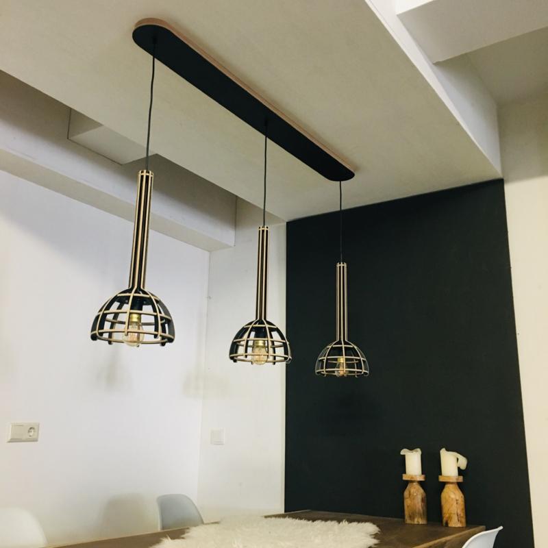 Houten plafondbalk met 3x Torch | zwart