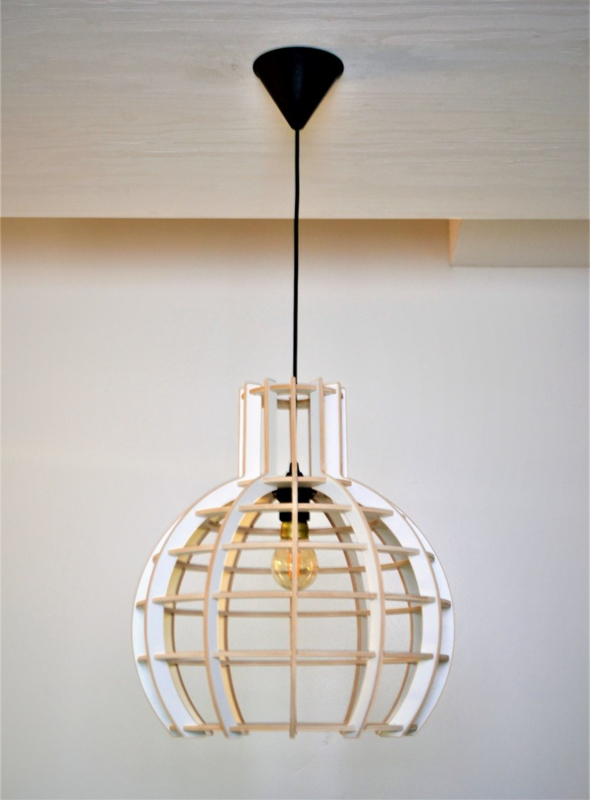 Hanglamp 'Globe' semi white