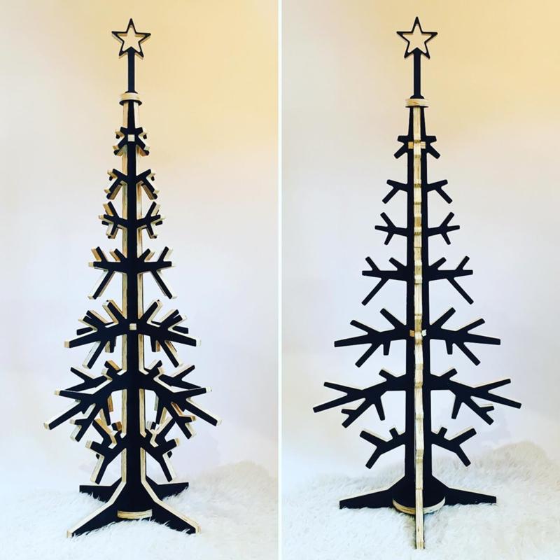 Houten kerstboom zwart - diverse maten