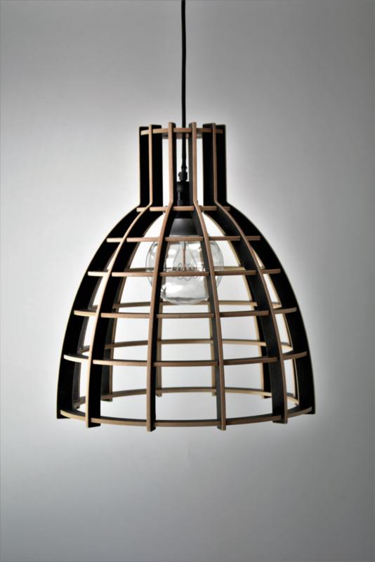 SALE! Houten hanglamp 'Cone' | zwart 30cm