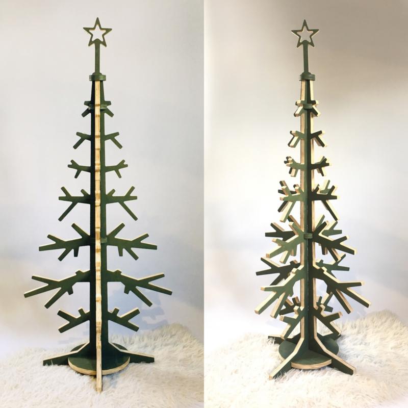 Houten kerstboom olijfgroen - diverse maten