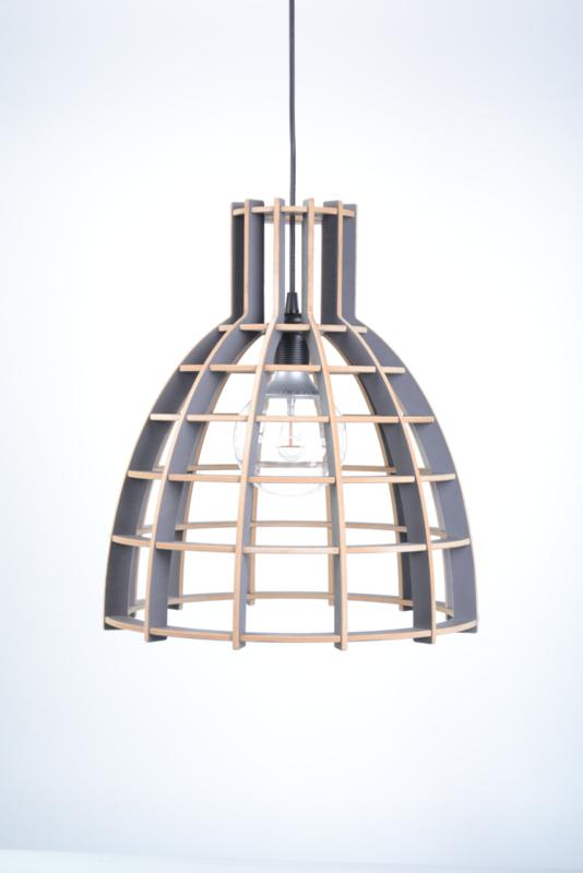 SALE! Houten hanglamp 'Cone' | grijs 30cm