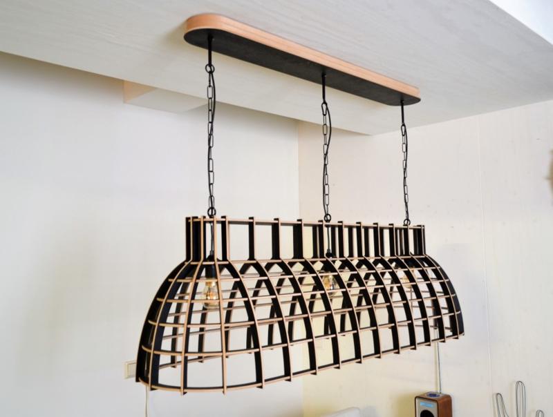 Houten hanglamp 'Cone Stretch' | wit, grijs of zwart