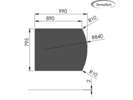 Kachelvloerplaat Toog 80 x 100 cm Zwart