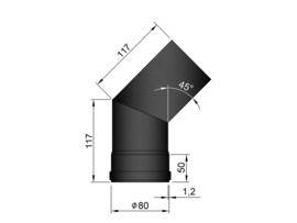 Pelletkachelpijp 80 mm - Bocht 45°