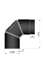 EW150 - Bocht 90°  verstelbaar - 3 delig Zwart