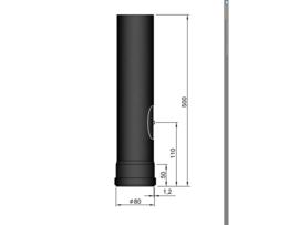Pelletkachelpijp 80 mm - 50 cm met luik