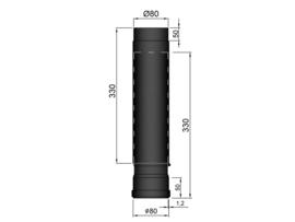 Pelletkachelpijp 80 mm - 41 - 61 cm schuifpijp
