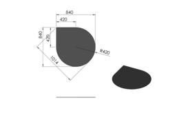 Kachelvloerplaat Druppel 84 x 84 cm Zwart