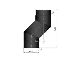 EW150 S-bocht versleping 10 cm Zwart