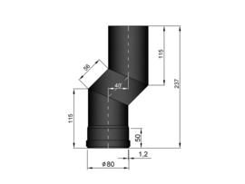 Pelletkachelpijp 80 mm - S-Bocht versleping 40 mm