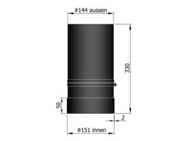EW150 - 33 cm schuifpijp Zwart
