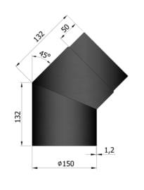 EW150 - Bocht 45°  Zwart Emaille