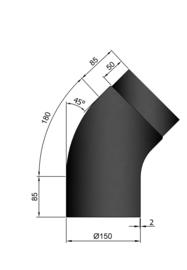 EW150 - Bocht 45°  Glad/rond Zwart