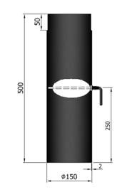 EW150 - 50 cm met smoorklep Zwart