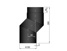 EW150 S-bocht versleping 8 cm Zwart