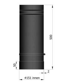 EW150 - 50 cm schuifpijp Zwart