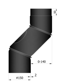 EW150 S-bocht versleping verstelbaar 0 - 14 cm Zwart