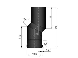 Pelletkachelpijp 80 mm - S-Bocht versleping 20 mm