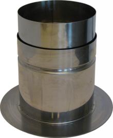 Nisbus aansluiting met rozet RVS 125 mm