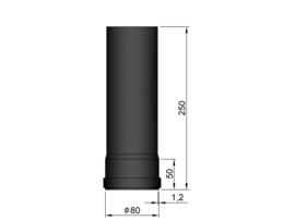 Pelletkachelpijp 80 mm - 25 cm