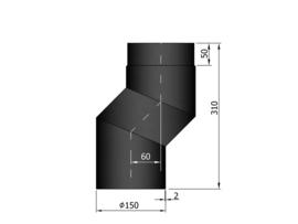 EW150 S-bocht versleping 6 cm Zwart