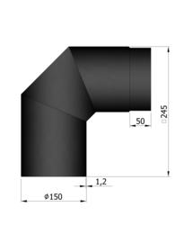 EW150 - Bocht 90°  Zwart Emaille