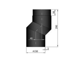EW150 S-bocht versleping 4 cm Zwart