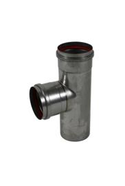 Pelletkachelpijp T-stuk met mof  RVS 80 mm