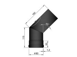 Pelletkachelpijp 80 mm - Bocht 45° met luik