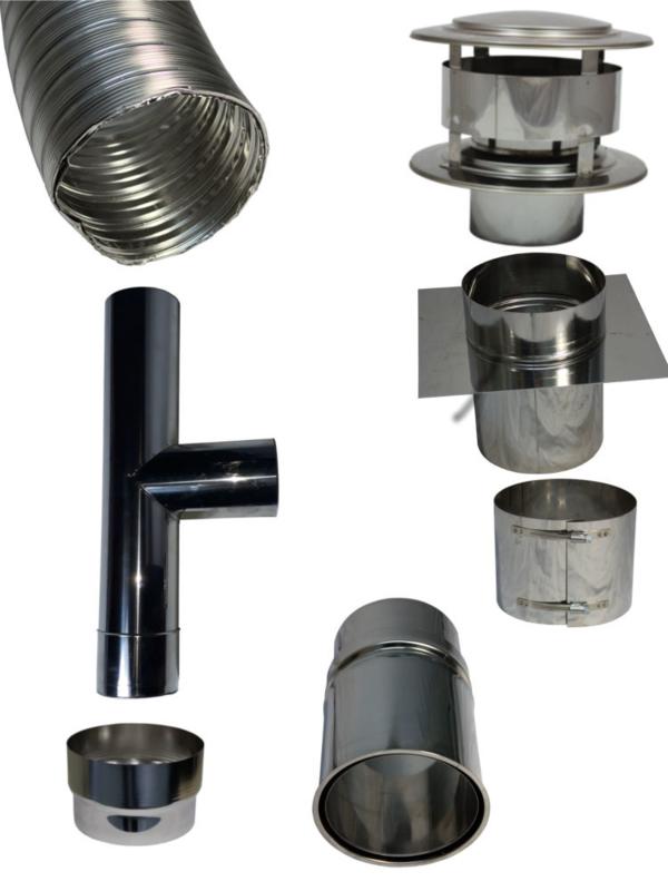 Flexibel dubbelwandig rookkanaal 100 mm pakket T