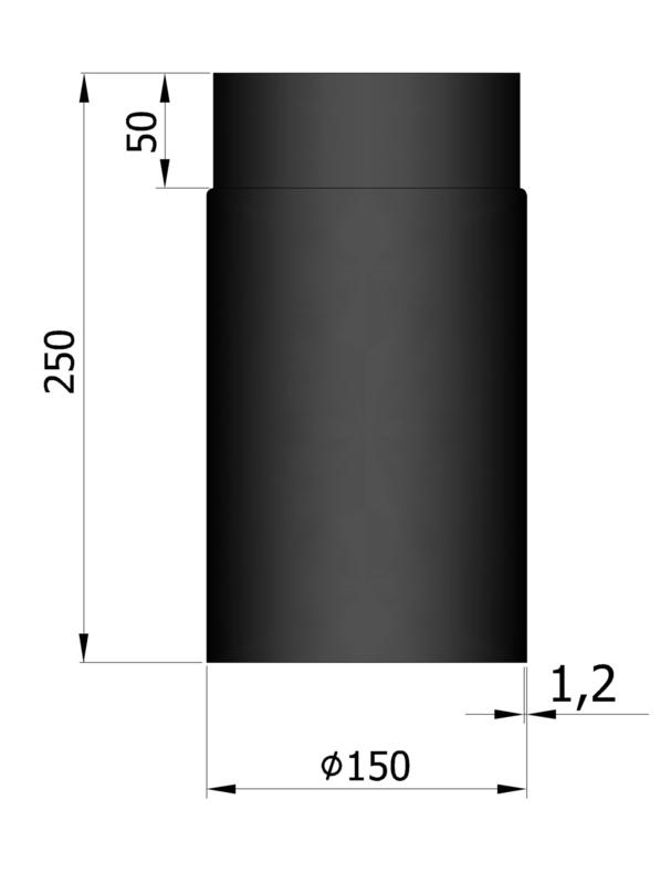 EW150 - 25 cm Zwart Emaille