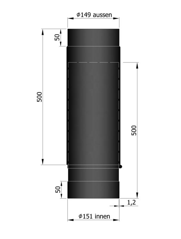 EW150 - Schuifpijpset 59 - 91 cm  Zwart Emaille