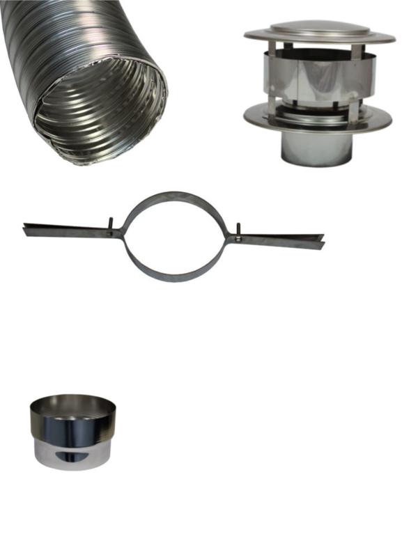 Compleet flexibel rookkanaal 80 mm basic