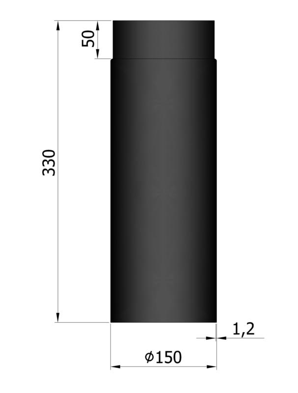 EW150 - 33 cm Zwart Emaille