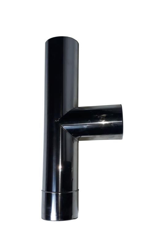 RVS T-stuk met dop 130 mm