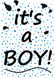 Geboortesticker it's a boy! - blue confetti STAAND