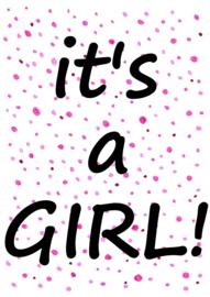 Geboortesticker It's a girl! - pink confetti STAAND