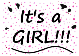 geboortesticker It's a girl!!! - pink confetti