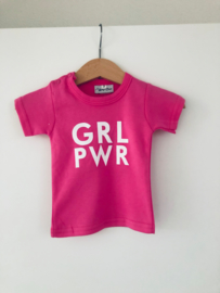 "T-shirt ""Grl pwr"" Korte Mouw | Fuchsia"