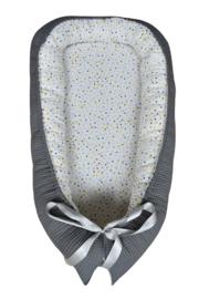 Handgefertigtes Babynest  Grau  Punkten Mischen