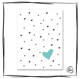 Poster Hearts Blue