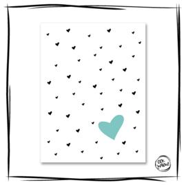 Poster Herz blau