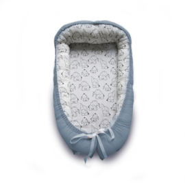 Handgefertigtes Babynest Altblau Elefant