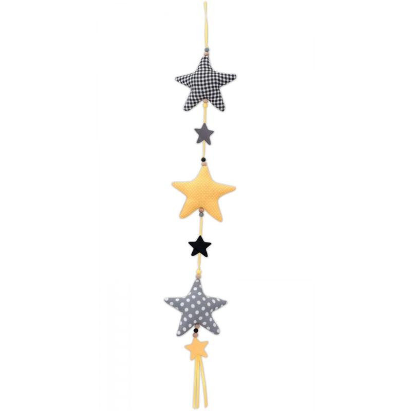Verticale slinger sterren zwart-grijs-geel